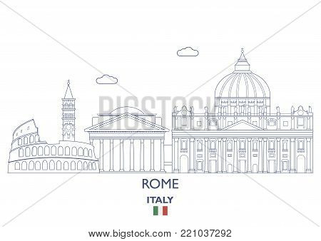 Rome Linear City Skyline, Italy. Famous city places