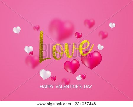 Valentine's day, banner template. Pink heart with lettering, isolated on background. Heart tags poster design. Vector
