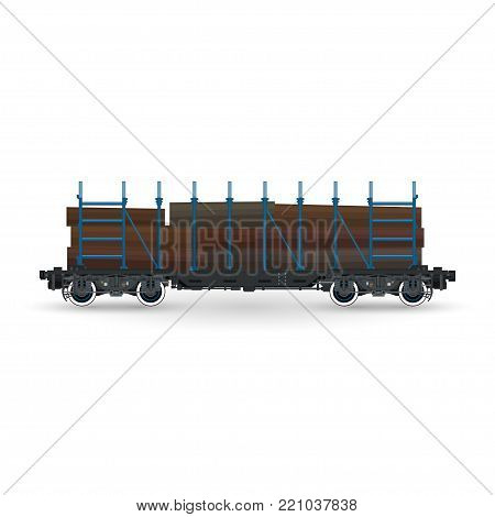 Railway Platform for Timber Transportation, Train with Timber on White Background, Railway and Cargo Transport
