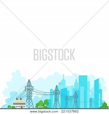 High Voltage Power Lines Supplies Electricity to the City, Electric Power Transmission on White Background , Poster Brochure Flyer Design