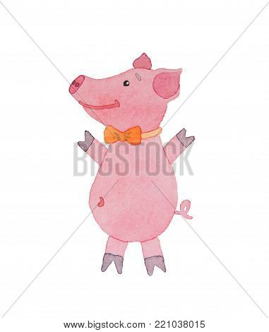Happy pink piggy with bow-tie drawn watercolor on a white background