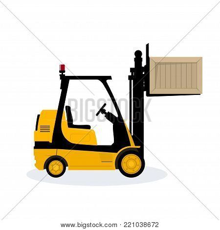 Yellow Forklift Truck Isolated on White Background, Vehicle Forklift Lifted the Box Up,  Illustration