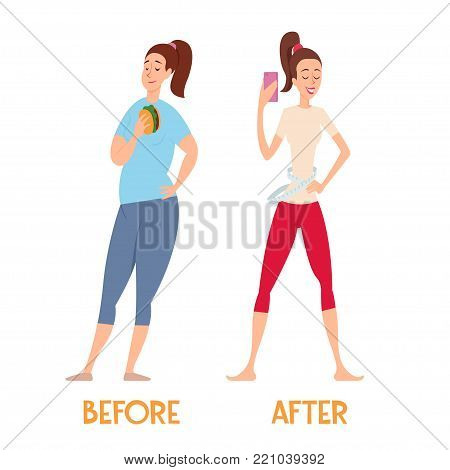 Changes before and after a diet. Slim and fat woman.