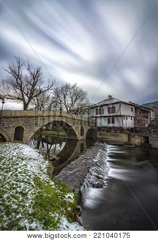 National revival bulgarian architecture. The famous bridge in the architectural complex in Tryavna, Bulgaria.