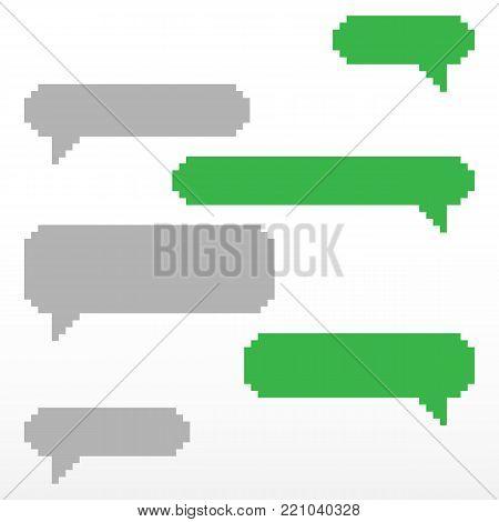 Pixel speech bubble, with place for text boxes, dialog boxes text message set. Short message service bubbles with place for text chat text boxes.