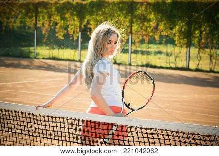 Sport, game concept. Girl athlete in tennis uniform at net on court. Activity, energy, health. Tennis fashion, clothing, wear. Woman player with tennis racket on sunny day.