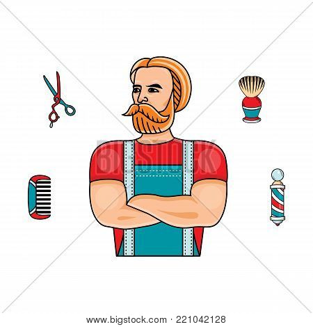 vector flat barber shop concept with brutal hipster man with big beard near shaving accesorries - scissors, comb, shaving brush, barber pole. Isolated illustration on white background