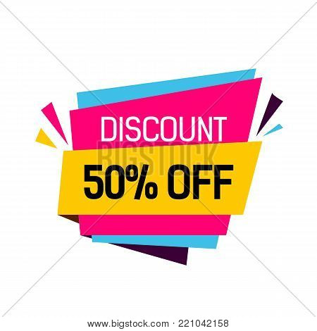 discount fifty percent off lettering colorful origami poster inscription can be used for