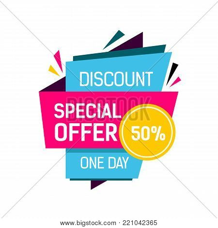 discount one day special offer fifty percent off lettering colorful origami poster