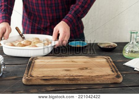 Empty Kitchen Board On Home Kitchen Table