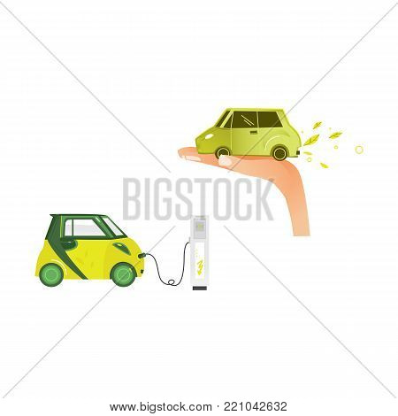 vector flat renewable, alternative energy icon set. electric car charging at charging station, car in palm of hand exhausting green leaves. Isolated illustration on a white background.