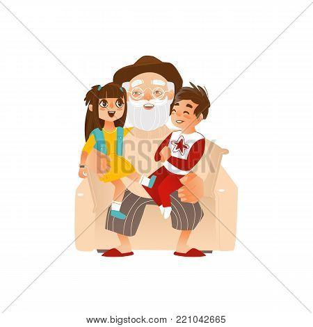 Grandfather holding grandkids, grandchildren on his knees, family portrait, flat cartoon vector illustration isolated on white background. Grandfather, grandpa with grandchildren, happy family concept