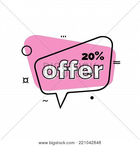 Twenty percent offer lettering in pink speech bubble. Inscription can be used for leaflets, posters, banners.