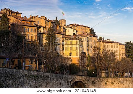 View of the old town of Bergamo in Italy at sunset