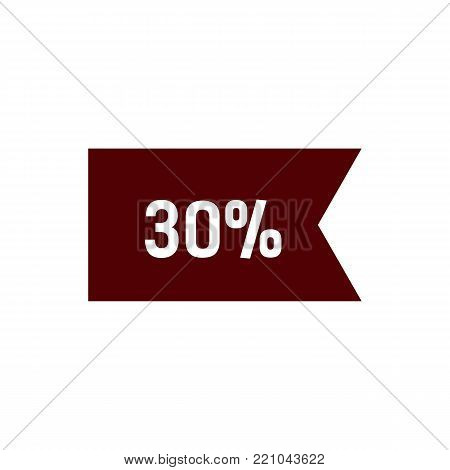 Thirty percent lettering on brown flag. Inscription can be used for leaflets, posters, banners.