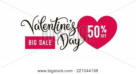 Valentine's day big sale banner design template and special offer, clearance vector Illustration. Label for online or retail shop. Valentines day special offer background. EPS 10