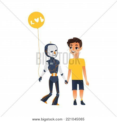 Android, cyborg, humanoid robot and teenage boy holding hands, friendship concept, flat cartoon vector illustration isolated on white background. Human boy and robot walking together as friends poster