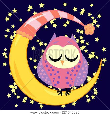 cute cartoon sleeping owl in circles with closed eyes sits on a drowsy crescent moon among the stars