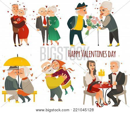Set of happy couples in love - old elder senior people hugging, kissing, dating, celebrating Valentine day, flat vector illustration isolated on white background. Set of elder, senior couples in love