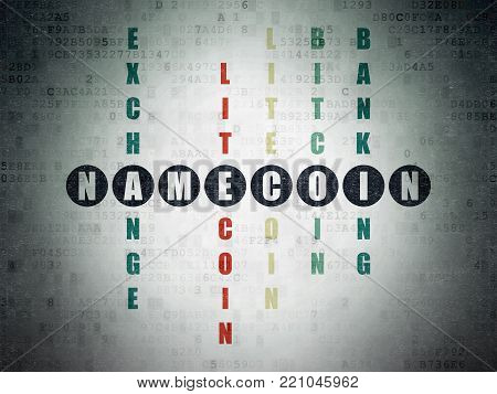 Cryptocurrency concept: Painted black word Namecoin in solving Crossword Puzzle on Digital Data Paper background