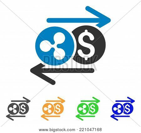 Ripple Dollar Exchange Arrows icon. Vector illustration style is a flat iconic ripple dollar exchange arrows symbol with grey, yellow, green, blue color versions.