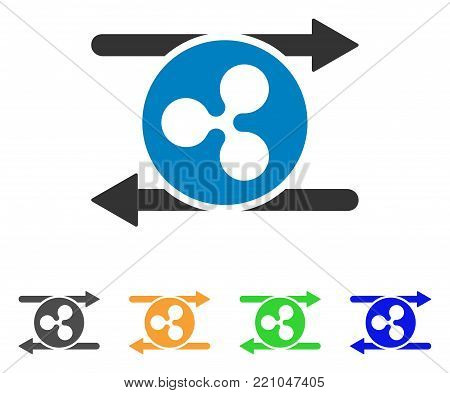 Ripple Transaction Arrows icon. Vector illustration style is a flat iconic ripple transaction arrows symbol with grey, yellow, green, blue color versions. Designed for web and software interfaces.