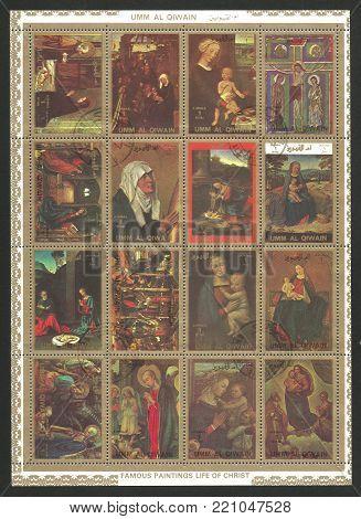 Umm Al Qiwain - circa 1972: Mini sheet printed by Umm Al Qiwain, Color edition on Art, shows Paintings of The life of Christ, circa 1972