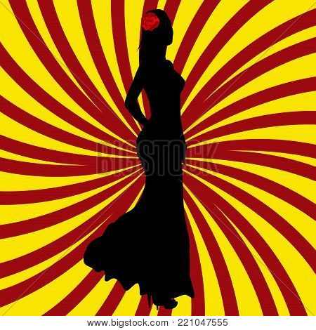 Spanish girl silhouette over Spanish flag background