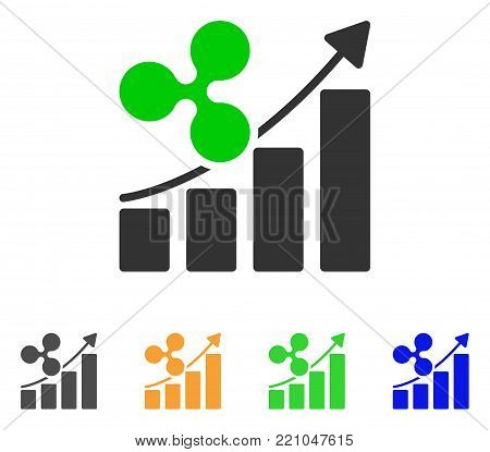 Ripple Growth Trend icon. Vector illustration style is a flat iconic ripple growth trend symbol with gray, yellow, green, blue color versions. Designed for web and software interfaces.