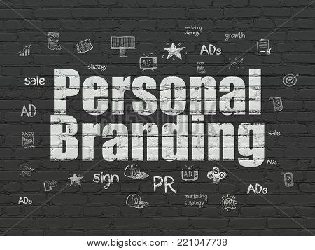 Advertising concept: Painted white text Personal Branding on Black Brick wall background with  Hand Drawn Marketing Icons