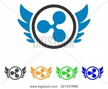 Ripple Angel Investment icon. Vector illustration style is a flat iconic ripple angel investment symbol with gray, yellow, green, blue color versions. Designed for web and software interfaces.