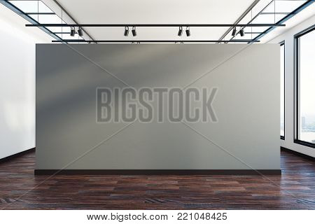 New grunge picture gallery interior with picture on wireframe grid. 3D Rendering
