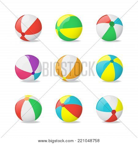 Realistic Detailed 3d Beach Balls Set Plastic Summer Toy Symbol of Game, Sport or Fun. Vector illustration of Ball