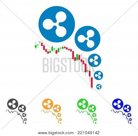 Ripple Deflation Chart icon. Vector illustration style is a flat iconic ripple deflation chart symbol with gray, yellow, green, blue color versions. Designed for web and software interfaces.