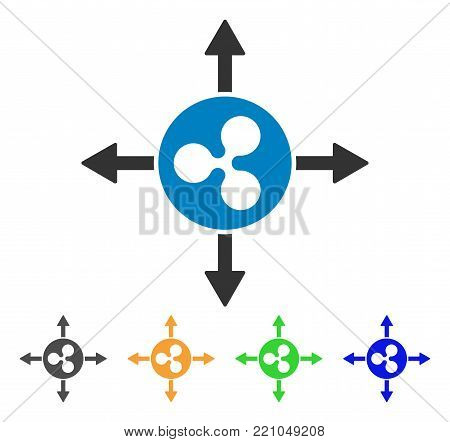 Ripple Directions icon. Vector illustration style is a flat iconic ripple directions symbol with grey, yellow, green, blue color variants. Designed for web and software interfaces.