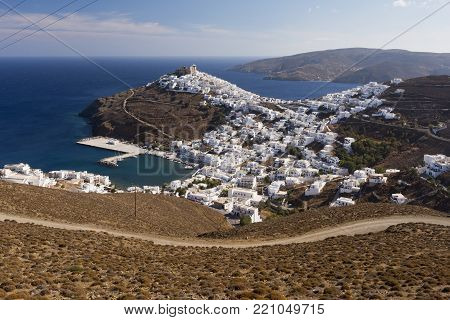 View of Astypalaia Chora Astypalea and its white houses. Astypalaia, Greek island