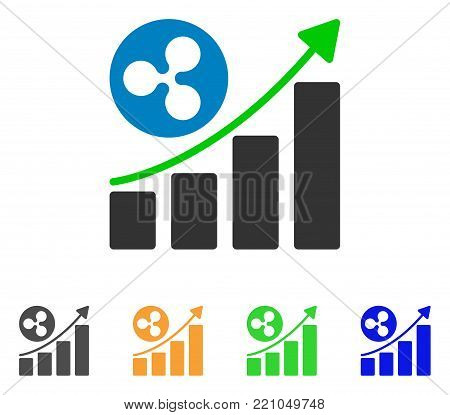 Ripple Growing Trend icon. Vector illustration style is a flat iconic ripple growing trend symbol with gray, yellow, green, blue color variants. Designed for web and software interfaces.