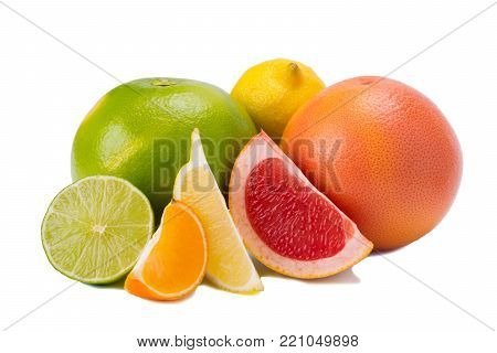 different colors of citrus fruits, with vitamin C on white background