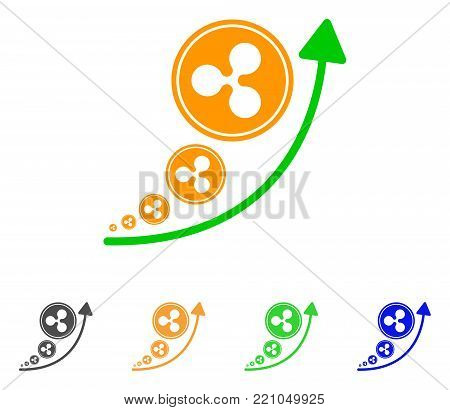 Ripple Inflation Trend icon. Vector illustration style is a flat iconic ripple inflation trend symbol with gray, yellow, green, blue color versions. Designed for web and software interfaces.