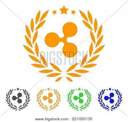 Ripple Laurel Wreath icon. Vector illustration style is a flat iconic ripple laurel wreath symbol with gray, yellow, green, blue color versions. Designed for web and software interfaces.