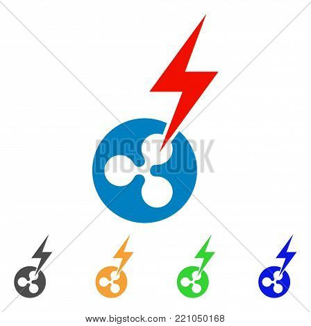 Ripple Lightning Strike icon. Vector illustration style is a flat iconic ripple lightning strike symbol with grey, yellow, green, blue color variants. Designed for web and software interfaces.