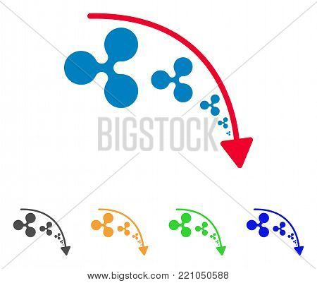 Ripple Reduce Trend icon. Vector illustration style is a flat iconic ripple reduce trend symbol with grey, yellow, green, blue color variants. Designed for web and software interfaces.