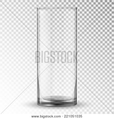 Empty realistic drinking glass cup. Glassware vector illustration. Realistic 3D vector clear glass cup for water, juice on a transparent background