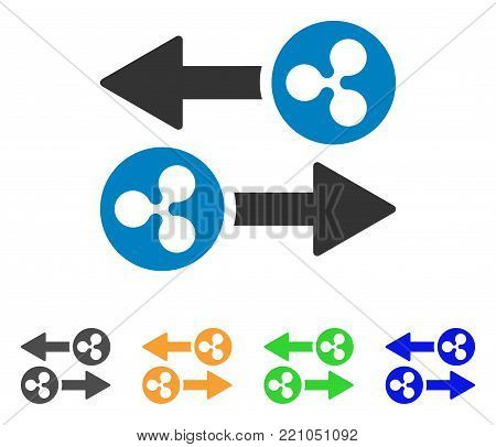 Ripple Transaction Arrows icon. Vector illustration style is a flat iconic ripple transaction arrows symbol with gray, yellow, green, blue color versions. Designed for web and software interfaces.