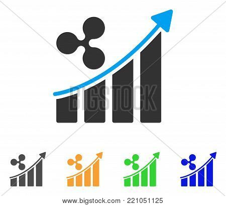Ripple Trend Up icon. Vector illustration style is a flat iconic ripple trend up symbol with gray, yellow, green, blue color variants. Designed for web and software interfaces.