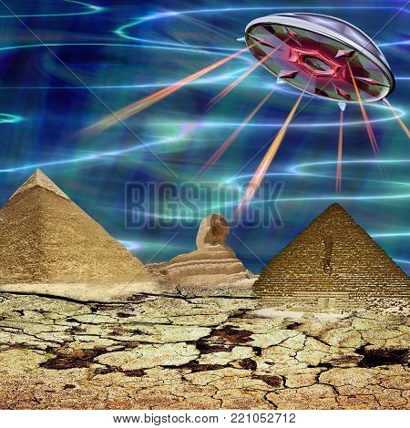 Unidentified flying object landing in a cracked landscape. Unknown object flying over egyptian pyramids and sphinx. 3d illustration