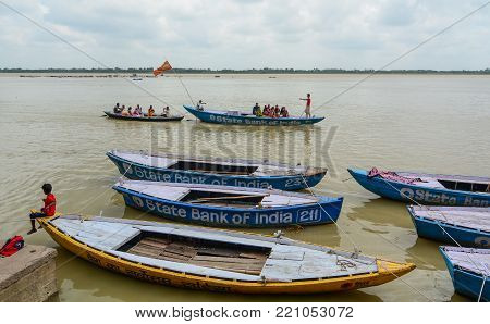 Tourist Boats On Ganges River In India
