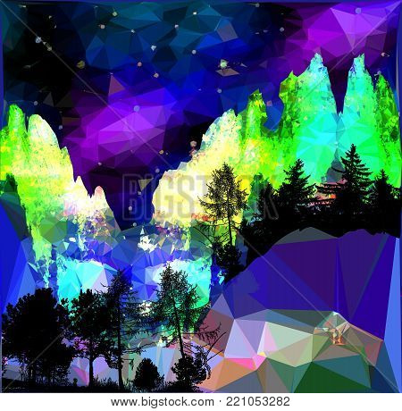 Night northern landscape with aurora, mountains and silhouettes of trees. Dark mountain landscape of polygons with stars and glowing dramatic sky. Blue, black, green, purple and yellow landscape with forest