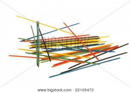 Mikado game in many colors isolated white background