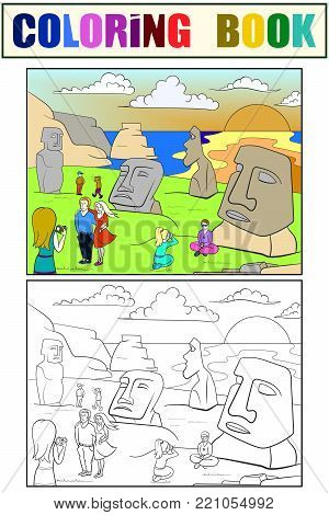 Easter Island excursions coloring, color, black and white vector. Chilean island in the southeastern Pacific Ocean